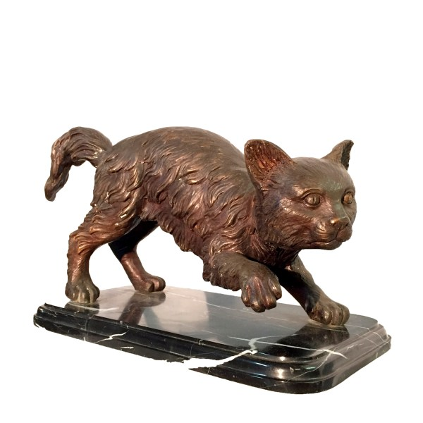 Bronze Cat Sculpture Marble Base Metropolitan