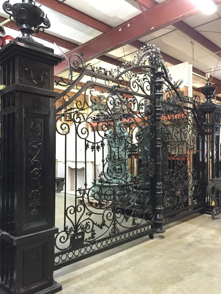 Iron Double Gate with Columns  Urns  Metropolitan