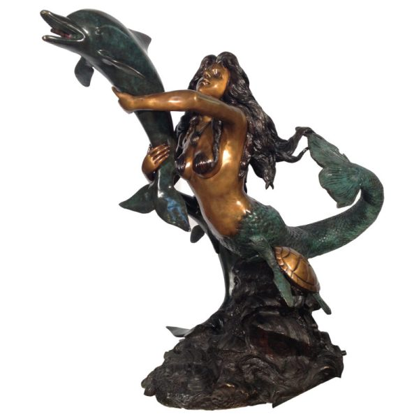 Bronze Mermaid With Shell Fountain Sculpture