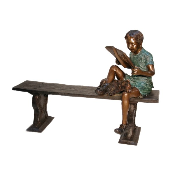 Bronze Boy & Dog Sitting Bench Sculpture Metropolitan