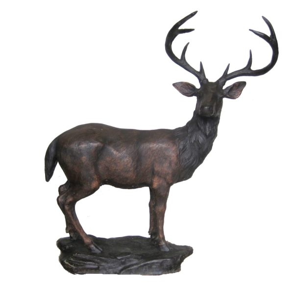 Bronze Standing Deer Rock Sculpture Metropolitan