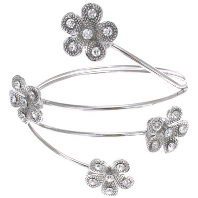Silver and Crystal Four Daisy Armlet Upper Arm Band Bracelet