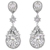 Large Crystal Teardrop Chandelier Clip on Earrings ER0085
