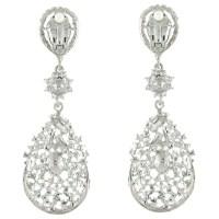 Large Crystal Teardrop Chandelier Clip on Earrings ER0085 ...