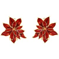 Red Enamel and Gold Poinsettia Christmas Flower Clip On ...
