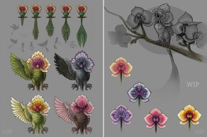 Work in progress sketchy cartoon bird creature design - ProCreate on the iPad Pro and Photoshop