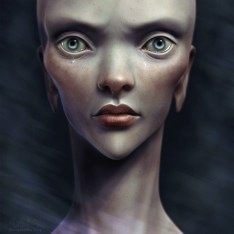 Female alien creature portrait