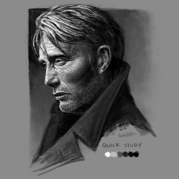 Mads Mikkelsen - quick sketch study - 13th May '18