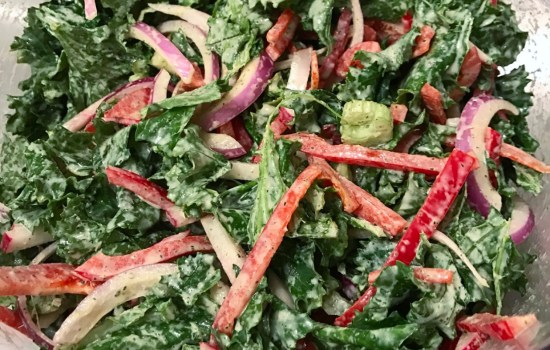 Crunchy Kale Salad with Tahini Mint Dressing