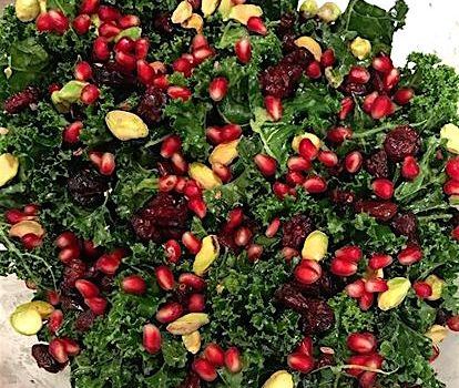 Kale Salad with Pistachios, Pomegranates & Cranberries