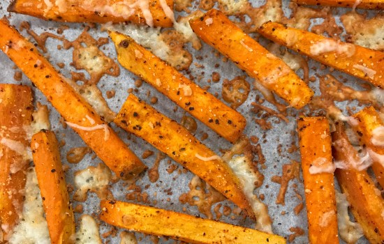 Cheesy & Spicy Roasted Sweet Potato Fries