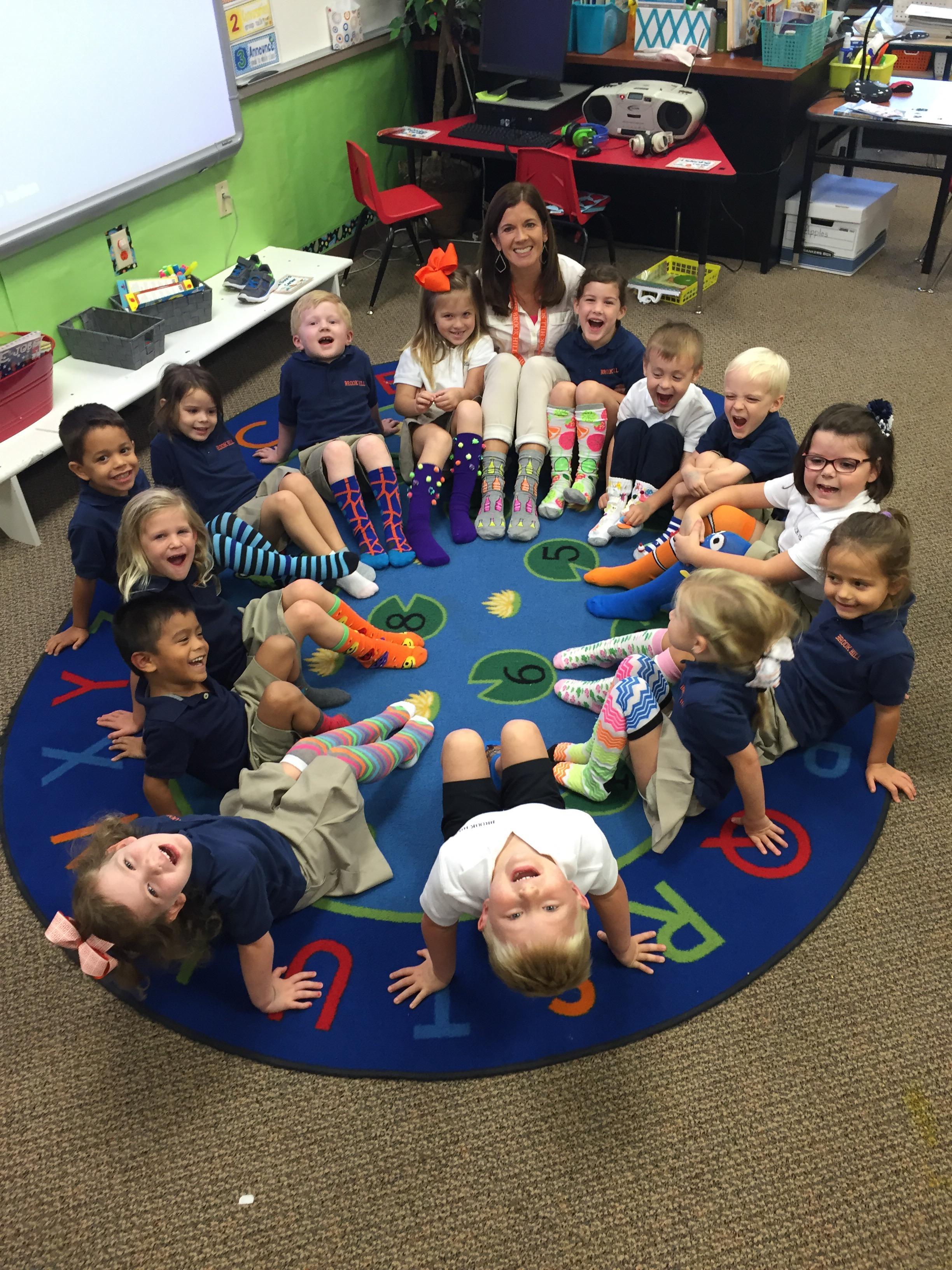 Silly Sock Day in PreK  Brook Hill School  Tyler TX