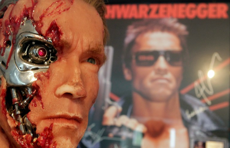 A figure from the movie 'The Terminator' is displayed inside the house where Austrian actor, former champion bodybuilder and former California governor Arnold Schwarzenegger was born, in the southern Austrian village of Thal, October 7, 2011. REUTERS/Herwig Prammer