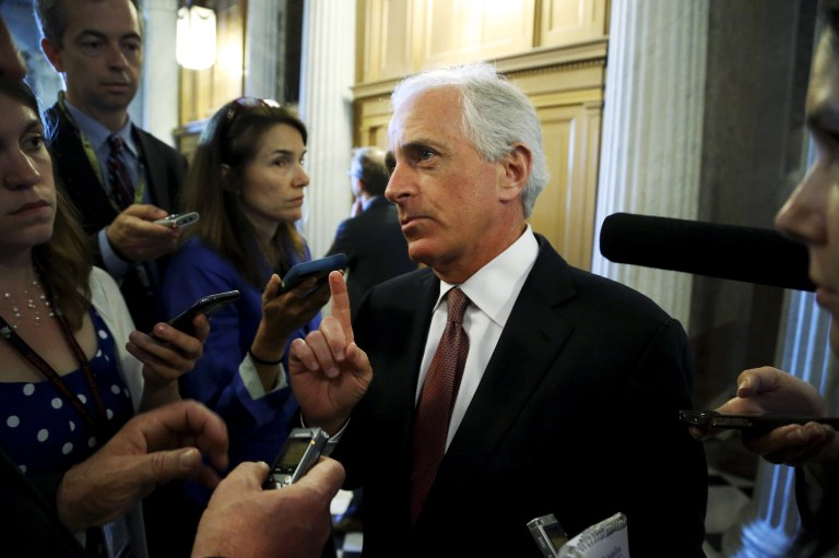 U.S. Senator Bob Corker (R-TN) talks to reporters after the weekly Republican caucus policy luncheon at the U.S. Capitol in Washington May 12, 2015. REUTERS/Jonathan Ernst