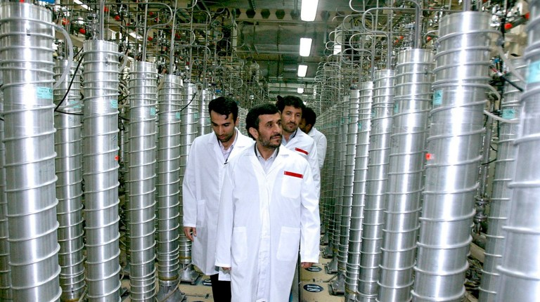 Iranian President Mahmoud Ahmadinejad visits the Natanz nuclear enrichment facility, 350 km (217 miles) south of Tehran, April 8, 2008. REUTERS/Presidential official website/Handout (IRAN).