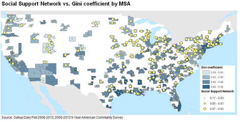 Chart 6 - social support network vs. Gini coefficient by MSA