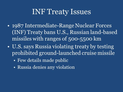 INF Treaty Issues