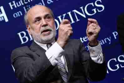 Ben Bernanke speaking at Brookings in 2015. Photographer: Paul Morigi