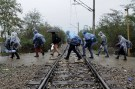 group of Syrian refugees wearing plastic raincoats to protect from heavy rainfall, walk across a railway line into Macedonia near the Greek village of Idomeni, September 26, 2015. A record number of at least 430,000 refugees and migrants have taken rickety boats across the Mediterranean to Europe this year, 309,000 via Greece, according to International Organization for Migration figures. REUTERS/Alexandros Avramidis.