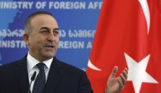 Turkey's Foreign Minister Mevlut Cavusoglu gestures during a news briefing in Tbilisi, Georgia, February 17, 2016. REUTERS/David Mdzinarishvili