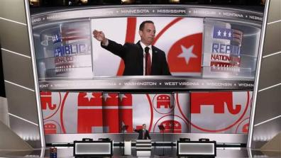 Republican National Committee Chairman Reince Priebus addresses the Republican National Convention.