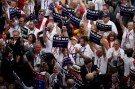 Delegates cheer during the nomination process for Republican U.S. Presidential candidate Donald Trump at the Republican National Convention in Cleveland, Ohio, U.S. July 19, 2016.