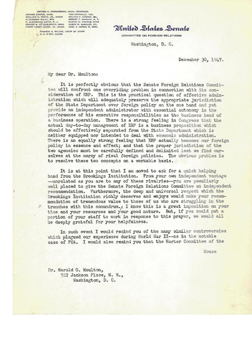 letter, Sen. Vandenberg to Harold Moulton