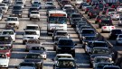 Vehicles are seen during rush hour on the 405 freeway in Los Angeles, California October 3, 2007. REUTERS/Lucy Nicholson (UNITED STATES) - RTR1UK7P