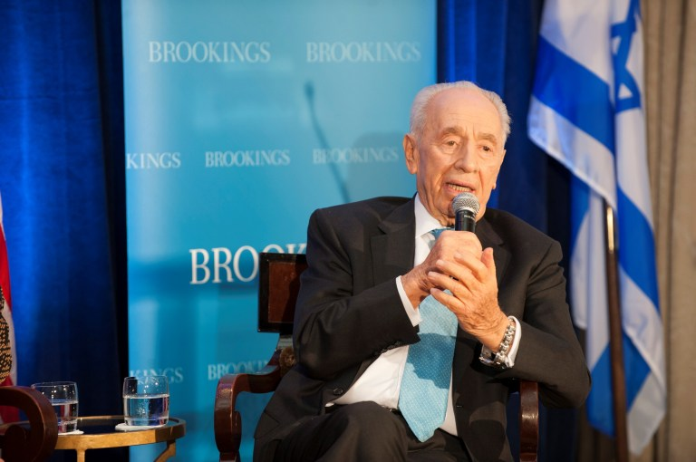 Former Israeli President Shimon Peres at a Brookings event on June 12, 2012.