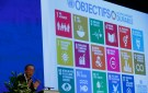 United Nations Secretary-General Ban Ki-Moon addresses the Annual Conference of Swiss Developement Cooperation in Zurich, Switzerland January 22, 2016. On the screen behind are displayed the 17 goals of UN's 2030 Agenda for Sustainable Development.    REUTERS/Arnd Wiegmann - RTX23JV6
