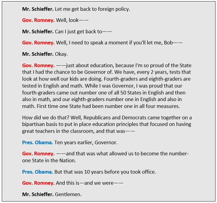 Presidential debate transcript between Schieffer, Obama, and Romney.