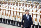 China's President Xi Jinping reviews honour guards during a welcoming ceremony for Peru's President Pedro Pablo Kuczynski (not in picture) at the Great Hall of the People in Beijing, China, September 13, 2016. REUTERS/Jason Lee - RTSNI5U