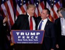 U.S. President-elect Donald Trump and Chairman of the Republican National Committee Reince Priebus address supporters during his election night rally in Manhattan, New York, U.S., November 9, 2016. REUTERS/Mike Segar - RTX2SPV9