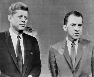 John F. Kennedy and Richard M. Nixon at the first debate in Chicago, 1960.