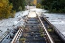 Debris swept downriver by the rising Tar River litter a flooded rail bridge crossing the river from Tarboro into Princeville as the river crests in the aftermath of Hurricane Matthew, in Tarboro, North Carolina on October 13, 2016. REUTERS/Jonathan Drake     TPX IMAGES OF THE DAY      - RTSS6H5