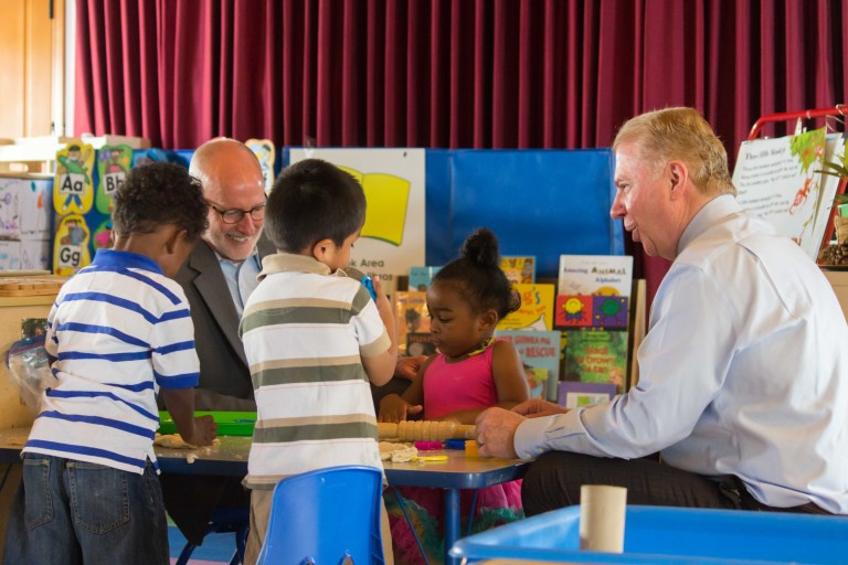 FLICKR/Seattle City Council - Seattle City Councilman Tim Burgess and Mayor Ed Murray visit a preschool., picture taken July 4, 2015.