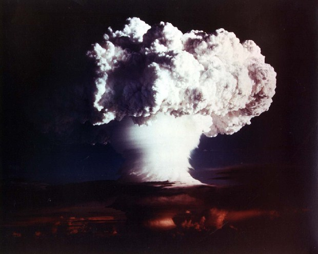 """The mushroom cloud formed by the """"Mike"""" test of an experimental thermonuclear device rises above Enewetak Atoll, November 1, 1952."""