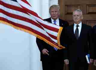 U.S. President-elect Donald Trump (L) greets retired Marine Gen. James Mattis for a meeting at the main clubhouse at Trump National Golf Club in Bedminster, New Jersey, U.S., November 19, 2016.  REUTERS/Mike Segar     TPX IMAGES OF THE DAY      - RTSSFDA