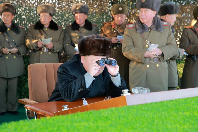 North Korean leader Kim Jong Un guides a firing contest among multiple launch rocket system (MLRS) batteries selected from large combined units of the KPA, in this undated photo released by North Korea's Korean Central News Agency (KCNA) in Pyongyang on December 21, 2016. KCNA/via Reuters ATTENTION EDITORS - THIS PICTURE WAS PROVIDED BY A THIRD PARTY. REUTERS IS UNABLE TO INDEPENDENTLY VERIFY THE AUTHENTICITY, CONTENT, LOCATION OR DATE OF THIS IMAGE. FOR EDITORIAL USE ONLY. NO THIRD PARTY SALES. SOUTH KOREA OUT. THIS PICTURE IS DISTRIBUTED EXACTLY AS RECEIVED BY REUTERS, AS A SERVICE TO CLIENTS. TPX IMAGES OF THE DAY - RTX2VYJG
