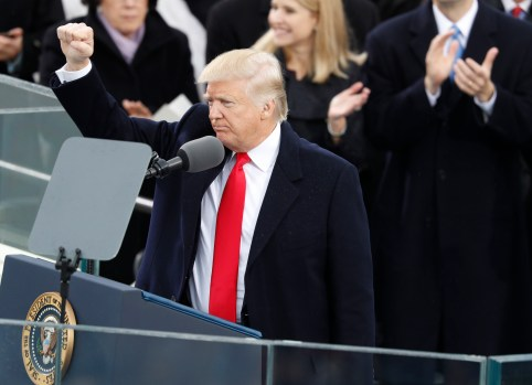 U.S. President Donald Trump gestures as he speaks after being sworn in as the 45th president of the United States on the West front of the U.S. Capitol in Washington, U.S., January 20, 2017. REUTERS/Lucy Nicholson