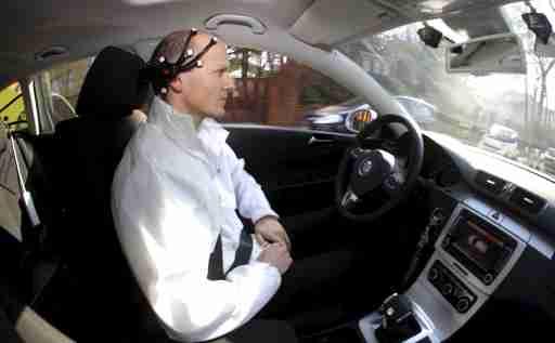 Daniel Goehring demonstrating hands-free driving in Berlin