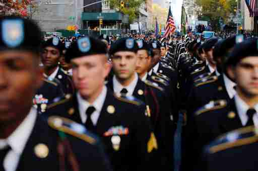 U.S. Army members march during the Veteran's Day parade in New York, U.S., November 11, 2016. REUTERS/Eduardo Munoz - RTX2T94C