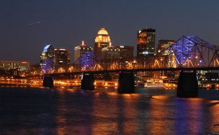 The Louisville, KY skyline at night.. Photo taken by Jesse Frost, 3/5/2007.