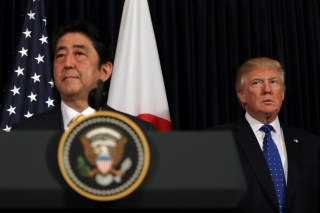 President Trump and PM Abe standing together