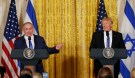 U.S. President Donald Trump (R) laughs with Israeli Prime Minister Benjamin Netanyahu at a joint news conference at the White House in Washington, U.S., February 15, 2017. REUTERS/Kevin Lamarque - RTSYUD8