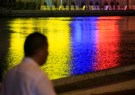 Photo: The colors of the Colombian flag are reflected in a canal next to the convention center in Cartagena, Colombia. [Reuters/Jaime Saldarriaga]