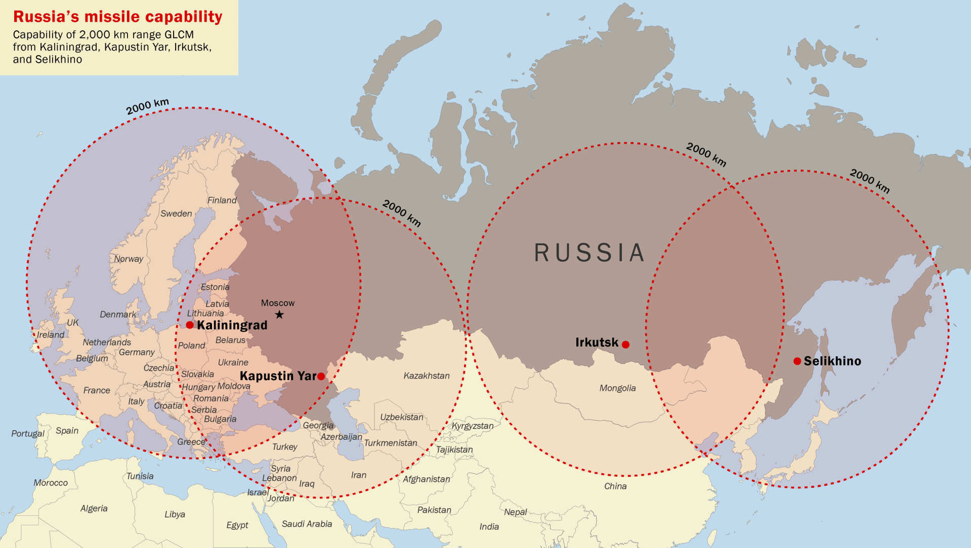Map showing missile ranges for Russian missiles.