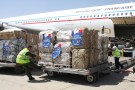 Workers unload humanitarian aid from France at an airport in Arbil, north of Baghdad, August 10, 2014. French Foreign Minister Laurent Fabius visited the capital of Iraqi Kurdistan after his country said it was ready to support the region's forces in blocking the incursion of Islamic State militants. REUTERS/Azad Lashkari (IRAQ - Tags: POLITICS) - RTR41W3O