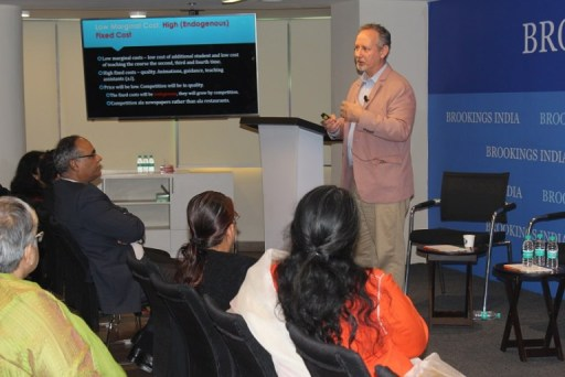 Dr. Alex T. Tabarrok (George Mason University, Virginia) gives his talk on Disruptions due to Online Education at a Brookings India Development Seminar