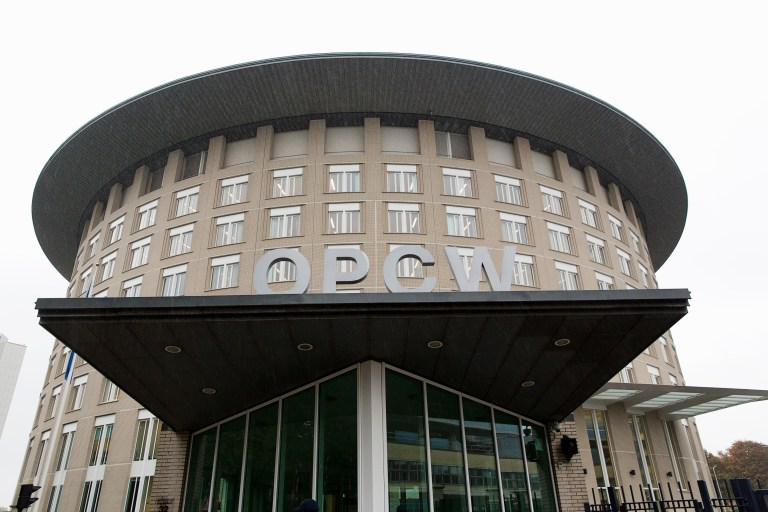Exterior view of the Organisation for the Prohibition of Chemical Weapons (OPCW) headquarters in The Hague October 11, 2013. The Organisation for the Prohibition of Chemical Weapons (OPCW), which is overseeing the destruction's of Syria's arsenal, won the Nobel Peace Prize on Friday, the Norwegian Nobel Committee said. Set up in 1997 to eliminate all chemicals weapons worldwide, its mission gained critical importance this year after a sarin gas strike in the suburbs of Damascus killed more than 1,400 people in August. REUTERSMichel Kooren (NETHERLANDS - Tags: POLITICS) - RTX1474P